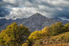 San Parteo mountain in Corsica with autumnal trees Royalty Free Stock Photography