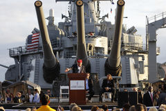 SAN PEDRO, CA - 15 DE SETEMBRO DE 2015: Donald Trump, candidato 2016 presidencial republicano, fala sob o grande durin das armas  Fotos de Stock Royalty Free