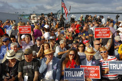 SAN PEDRO, CA - SEPTEMBER 15, 2015: Battleship USS Iowa in San Pedro, California, U.S., Trump Presidential Campaign supporters wit. H signs, on Tuesday, Sept. 15 stock photography