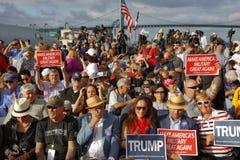 SAN PEDRO, CA - SEPTEMBER 15, 2015: Battleship USS Iowa in San Pedro, California, U.S., Trump Presidential Campaign supporters wit Stock Photography