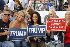 SAN PEDRO, CA - SEPTEMBER 15, 2015: Battleship USS Iowa in San Pedro, California, U.S., Trump Presidential Campaign supporters wit Royalty Free Stock Photography