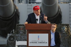 SAN PEDRO, CA - SEPTEMBER 15, 2015: Donald Trump, 2016 Republican presidential candidate, speaks during a rally aboard the Battles Stock Photos