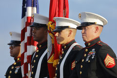 SAN PEDRO, CA - SEPTEMBER 15, 2015: US Marines and Honor Guard at Donald Trump 2016 Republican presidential rally aboard the Battl Royalty Free Stock Photos