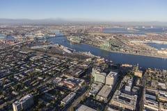San Pedro California and Los Angeles Harbor Aerial View Stock Photo