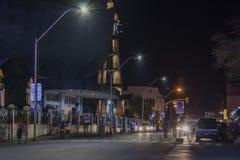 San Pedro Cathedral nachts in Davao-Stadt Lizenzfreies Stockbild