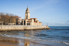 San Pedro church, in Gijón promenade Stock Images