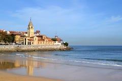 San Pedro church at San Lorenzo beach in Gijon, Asturias Stock Images
