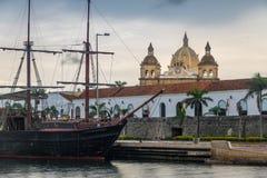 San Pedro Claver Church Domes and Ship - Cartagena de Indias, Colombia Stock Photos