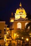 San Pedro Claver kopuły kościół przy nocą Obraz Stock