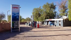 The only petrol station in the village of San Pedro de Atacama, Chile. San Pedro de Atacama, Chile - February, 2019. The only petrol station in the village of royalty free stock photo