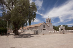 San Pedro de Atacama main church. The main street of San Pedro de Atacama, Chile with its church on the background royalty free stock image