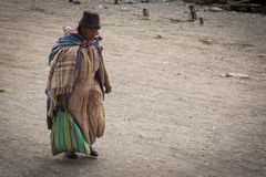 Unidentified indigenous woman in the small village of San Pedro de Tiquina on the Titikaka lake, Bolivia - South America stock photography