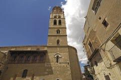 San Pedro kyrka i Fraga, Huesca landskap, Aragon royaltyfri foto