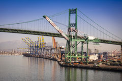 San Pedro Ship Yard and Bridge Stock Photos