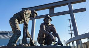 San Pedro WWII monument framed by torii gate. San Pedro, California USA - October 13, 2018: The Japanese Fishing Village Memorial at the Port of Los Angeles stock photo