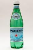 San Pellegrino bottle. New York, January 23, 2017: A single plastic bottle of San Pellegrino mineral water stands isolated against white background Stock Photos