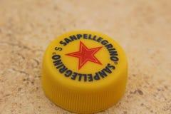 San Pellegrino. Bottle top of San Pellegrino on a table in Malta Royalty Free Stock Photography