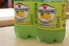 San Pellegrino. Bottles of San Pellegrino on a table in Malta Stock Photography