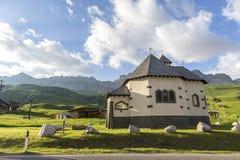 San Pellegrino Pass, Trentino Alto Adige, Alps, Dolomites, Italy: Landscape at the San Pellegrino Pass 1918 m. It`s a high moun. Tain pass in the Italian stock image