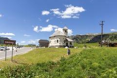 San Pellegrino Pass, Trentino Alto Adige, Alps, Dolomites, Italy: Landscape at the San Pellegrino Pass 1918 m. It`s a high moun. Tain pass in the Italian royalty free stock photography
