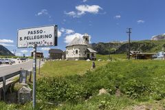 San Pellegrino Pass, Trentino Alto Adige, Alps, Dolomites, Italy: Landscape at the San Pellegrino Pass 1918 m. It`s a high moun. Tain pass in the Italian stock photography