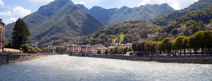 San Pellegrino Terme. Color image. Wide-angle view of the small town of San Pellegrino Terme (Lombardy, Province of Bergamo), worldwide famous for its medical Stock Images