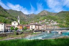 San Pellegrino Terme. village in the brembana valley. Bergamo. Italy. Parish church area.  stock image