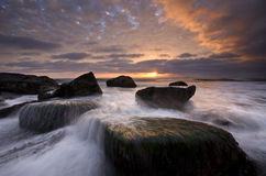 San Perdro Coast. Sunset at San Pedro Coast, California.  Long exposure for effect on water Stock Images