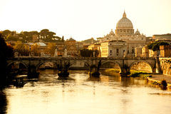 San Peter basilica at sunset, Rome, Italy. Royalty Free Stock Photo