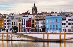 San Peter Church Cityscape River Guadalquivr Siviglia Spagna Fotografie Stock Libere da Diritti