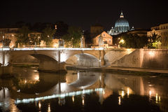 San Peter and Tiber. San Peter by night and Tiber river Royalty Free Stock Images