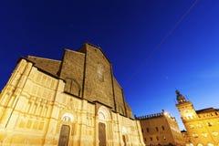 San Petronio Basilica on Piazza Maggiore in Bologna Stock Photography