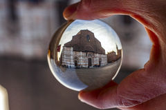 San petronio cathedral in a crystal ball Royalty Free Stock Photos