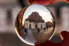 San petronio cathedral in a crystal ball Stock Images