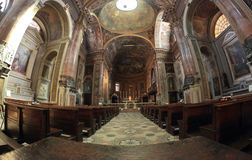 San Pietro al Rosario Church in Novara, Italy. Interior of the San Pietro al Rosario church in a fish-eye view in  Novara, Italy.  Roman Catholic Church  built Stock Photography