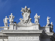 San Pietro colonnato. Particulars of San Pietro Church and the column in the square, Rome Italy Royalty Free Stock Image