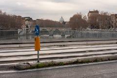 San pietro from ponte garibaldi, rome. View of san pietro from ponte garibaldi in a rainy day Stock Image