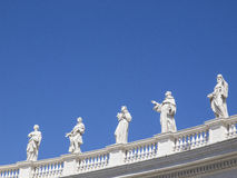 San Pietro Roma. Statues facing St. Peter basilique in Rome, Italy Royalty Free Stock Images