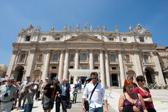 San Pietro in Rome. View of the main facade of the San Pietro Basilica in Vatican stock photography