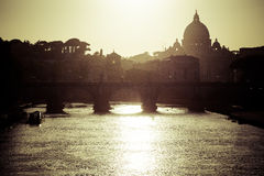 San Pietro in Rome backlit. Rome at dusk: Saint Peter's Basilica Royalty Free Stock Image
