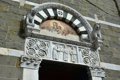 San Pietro Somaldi church portal in the historical center of Luc Stock Images