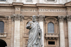 San Pietro Statue. Shot in Vatican, Rome, Italy. This image shows the beautiful statue of Saint Peter Stock Photos