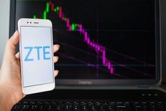 SAN PIETROBURGO, RUSSIA - 27 MAGGIO 2019: Analisi dei dati di sicurezze di ZTE, concetto immagini stock libere da diritti