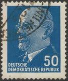 San Pietroburgo, Russia - 27 novembre 2018: Francobollo stampato nel GDR con l'immagine di Walter Ulbricht fotografia stock