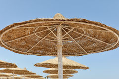 San protection. On a beach somewhere in Egypt Royalty Free Stock Images