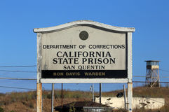 San Quentin State Prison. San Quentin, CA, USA - October 4, 2016: A sign marking an entrance to San Quentin State prison. San Quentin is one of the most famous Stock Photo