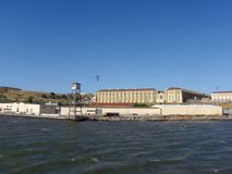 San Quentin State Prison. California taken from a passing ferry with lookout tower royalty free stock photos