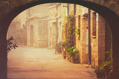 San Quirico d`Orcia city street Royalty Free Stock Photography