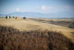 SAN QUIRICO D ` ORCIA, TOSCANIË, ITALIË: Madonna van de kapel en de cipresbomen van Vitaleta in Toscaans plattelandslandschap in  stock foto's