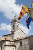 San Quirico d'Orcia (Tuscany), church. San Quirico d'Orcia (Siena, Tuscany, Italy), historic church Stock Photo